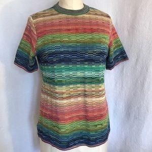 Peskala space dyed sh sleeve multicolour sweater